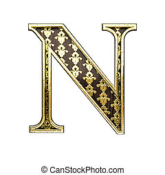 n golden letter 3d illustration