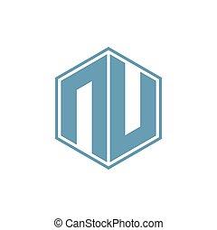 n hexagonal geometric negative space logo vector