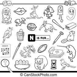 Black and White Cartoon Illustration of Finding Picture Starting with Letter N Educational Game Workbook for Children Coloring Book