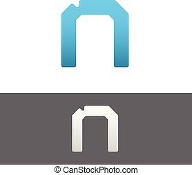 N Letter Alphabet Abstract vector text logo