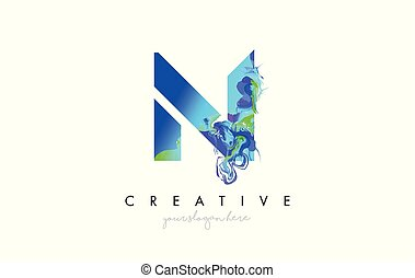 N Letter Icon Design Logo With Creative Artistic Ink Painting Flow in Blue Green Colors