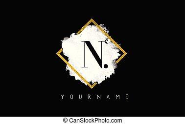 N Letter Logo Design with White Stroke and Golden Frame.