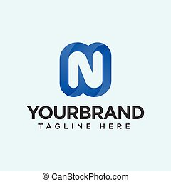 N letter logo gradient. Isolated on a tosca background. Vector illustration