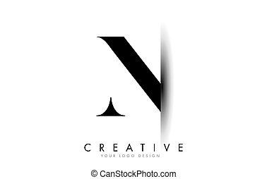 N Letter Logo with Creative Shadow Cut Design.