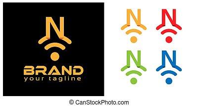 N online logo template, stock logo template.