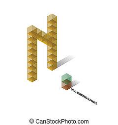 N - Pixel Isometric Alphabet