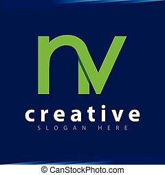 n v Initial Letter Logo Vector Template