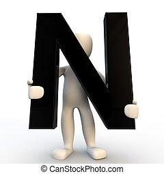 n, vasthouden, mensen, karakter, kleine, black , menselijk, brief, 3d