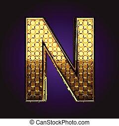 n vector golden letter