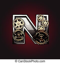 n vector letter with gears