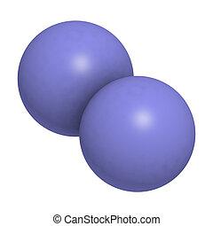 (n2), molecolare, degli elementi della natura, azoto, model.