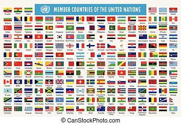 nações, bandeiras, unidas, membros, países