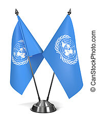 nações unidas, -, miniatura, flags.