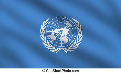 nações unidas, (un), bandeira, (un), bandeira