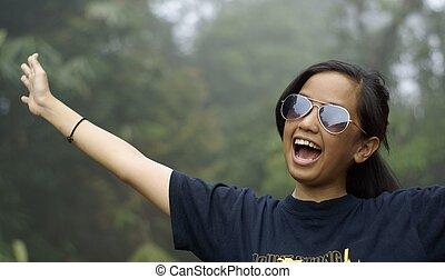 naście, śmiech, outdoors, dziewczyna, asian, szczęśliwy