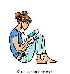 naście, audiobook, telefon, muzykować słuchanie, dziewczyna, albo
