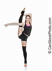 naście, baletnica, ruch, rozciąganie