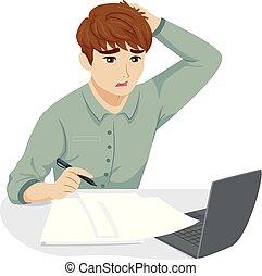 naście, facet, zmęczony, praca, akcentowany, ilustracja