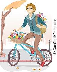 naście, kosz, facet, kwiaty, rower