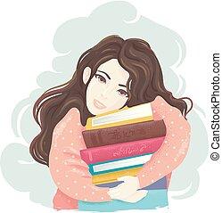 naście, książki, dziewczyna, uścisk, ilustracja