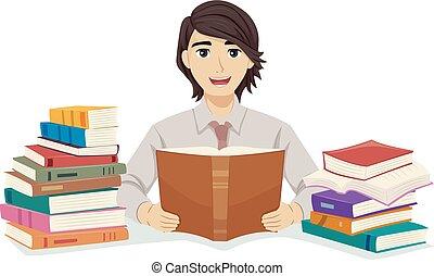 naście, książki, facet, student, przeczytajcie, ilustracja,...