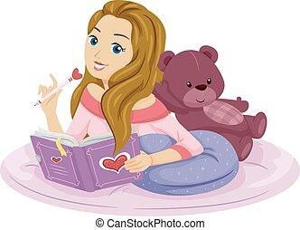 naście, pisać, dziewczyna, pamiętnik