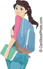 naście, plecak, wstecz, patrząc, student, dziewczyna