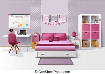 naście, pokój, wizerunek, realistyczny, wewnętrzny, dziewczyna