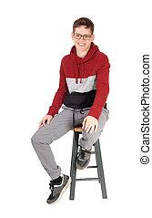 naście, posiedzenie, krzesło, uśmiechanie się, chłopiec