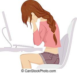 naście, przód, dziewczyna, płakać, komputer
