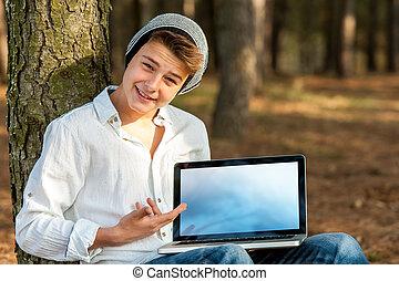 naście, spoinowanie, laptop, screen., student, czysty
