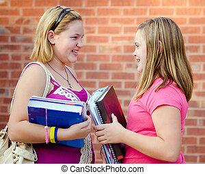 naście, szkoła, dorastający, dziewczyny, dwa, mówiąc, zewnątrz, upadek, podczas, albo