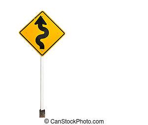 na, żółty znak, curvy, ostrzeżenie, tło, biały, droga