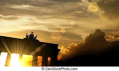 """na, """"brandenburg, brama, zachód słońca, animation"""", 3d"""