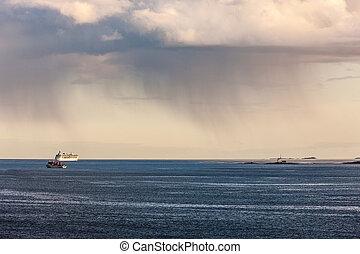 na, chmury, morze, deszcz