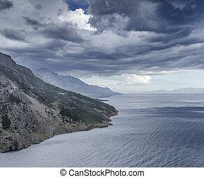 na, chmury, sea., deszcz