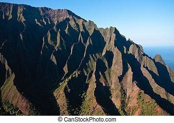 na, costa, pali, kauai, arrugado, cara, acantilado
