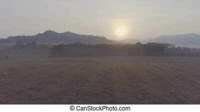 na, countryside., wschód słońca, aerial.
