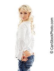 na dół, ciągnący, śliczny, dżinsy, blond
