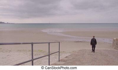 na dół, pieszy, człowiek, rampa, plaża, na