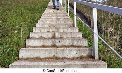 na dół, pieszy, schody, człowiek