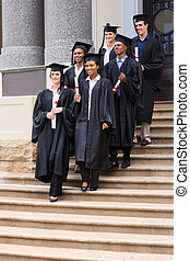 na dół, pieszy, schody, młody, absolwenci