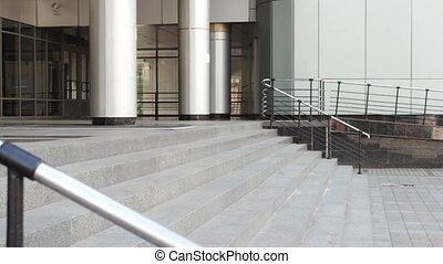 na dół, pieszy, schody, student, człowiek