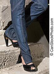 na dół, pieszy, schody