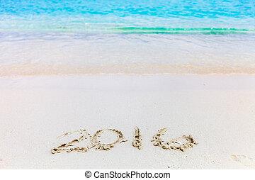 na dół, pisemny, takty muzyczne, rok, nowy, plaża