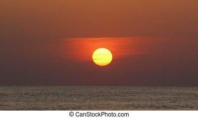 na dół, słońce, siada, zachód słońca, morze