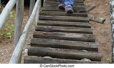 na dół, schody, człowiek pieszy