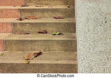 na dół, schody