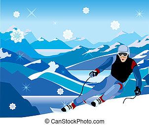 na dół, spadzisty, pagórek, narciarz