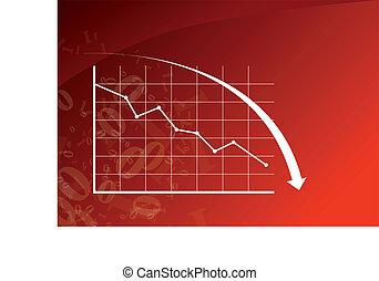 na dół, wykres